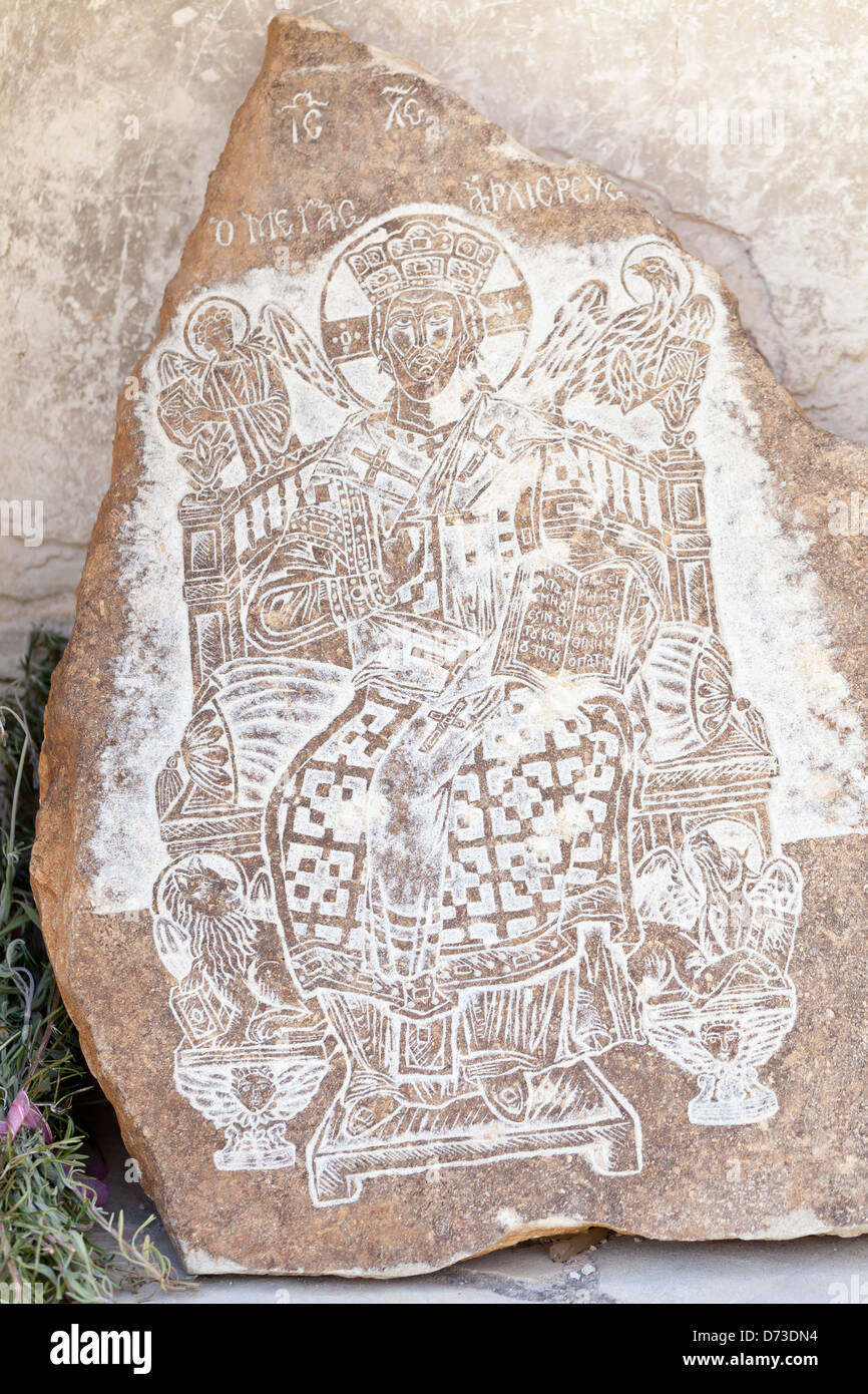 Cyprus - Engraved image at the church of the Archangelou Michael Monastery - Stock Image