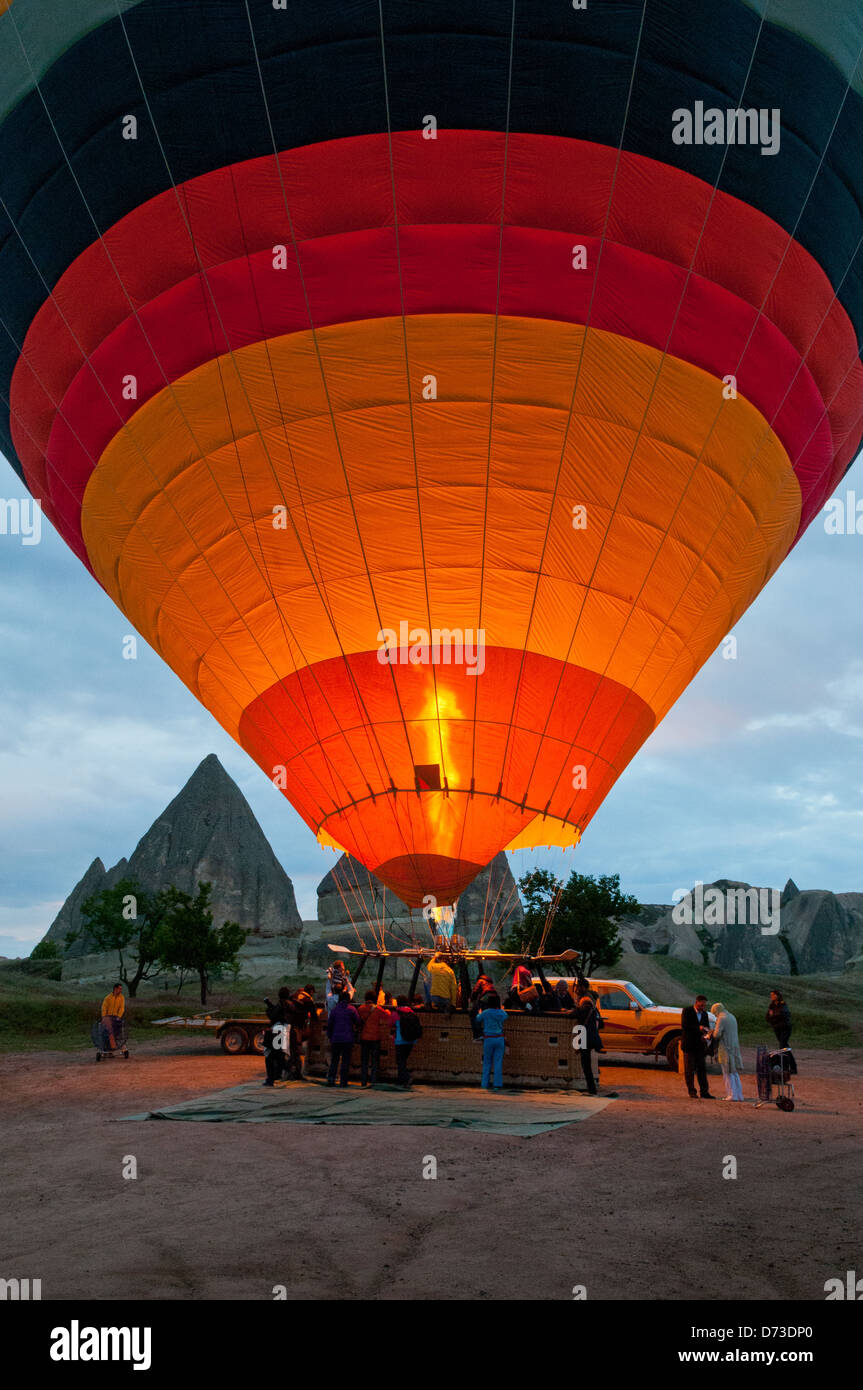 Hot Air Balloon Taking Off, Cappodocia, Nevsehir, Turkey Stock Photo