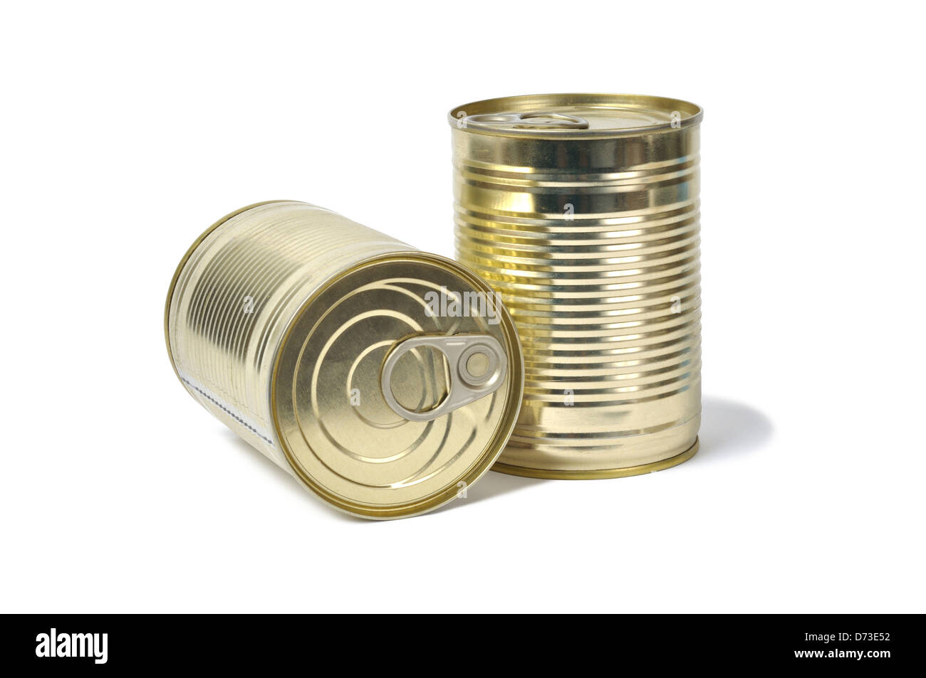 Tin Cans on White - Stock Image