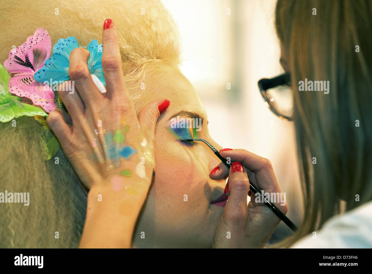 Poznan, Poland, body painting at the fair LOOK / BEAUTY VISION 2013 Stock Photo