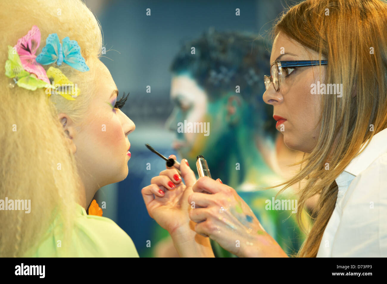 Poznan, Poland, body painting at the fair LOOK / BEAUTY VISION 2013 - Stock Image