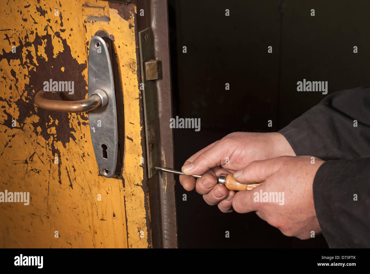 Berlin, Germany, a man screwed around on an old castle - Stock Image