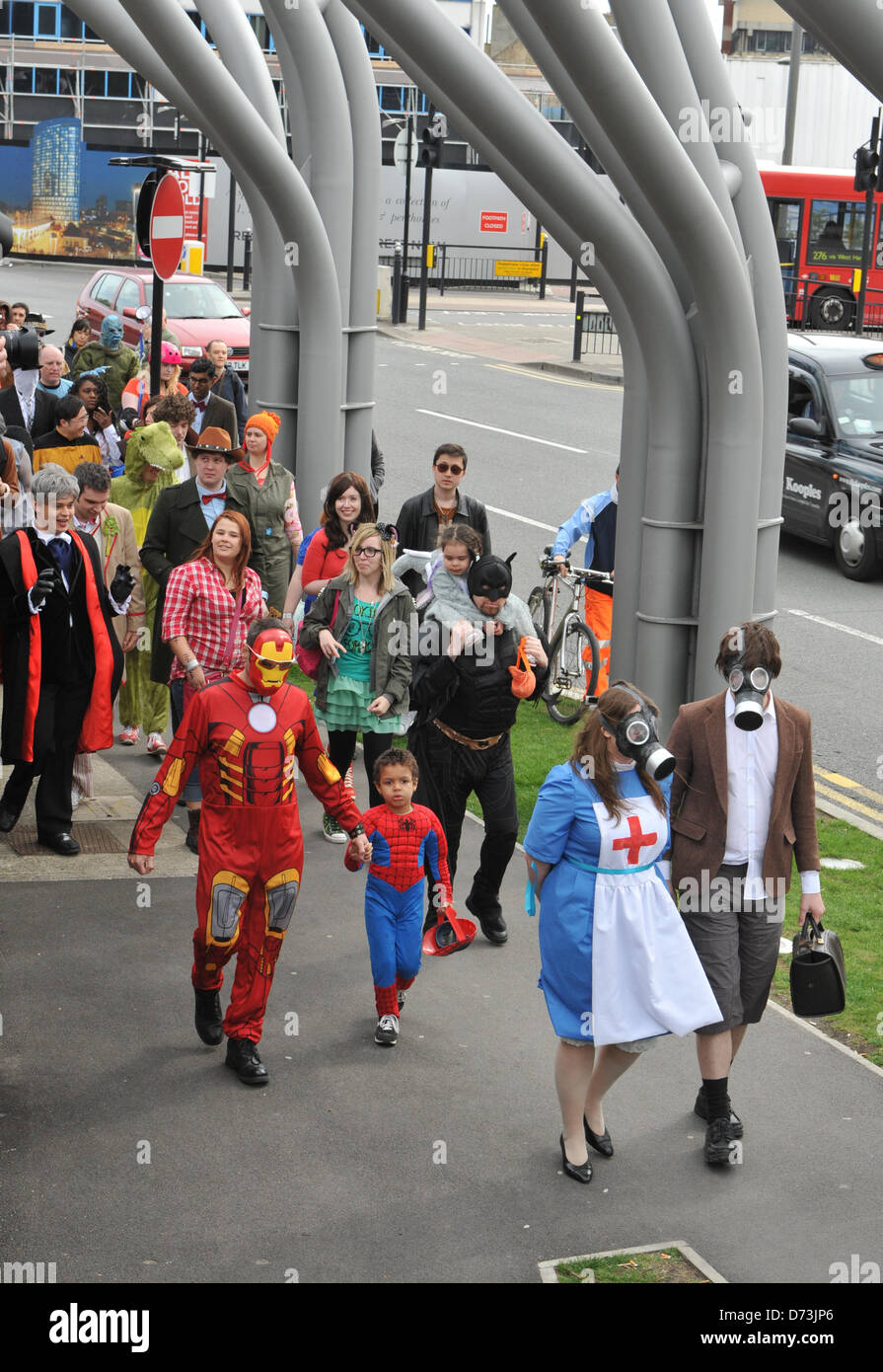 Cosplay cosplayers dressing up Stratford, London, UK. 28th April 2013. The costume parade walks around Stratford. - Stock Image
