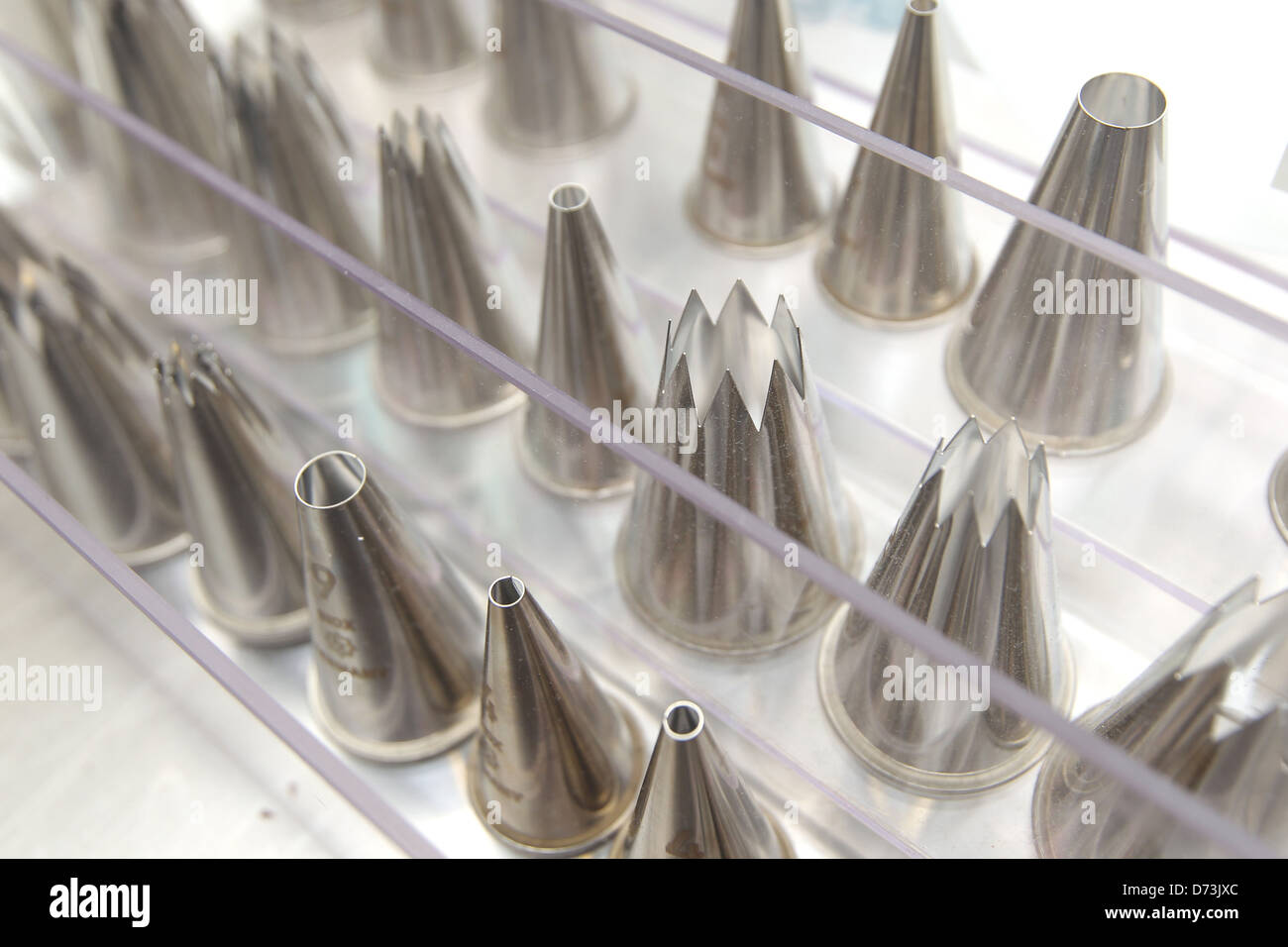 Handewitt, Germany, various Nozzles in the chocolate factory Stock Photo