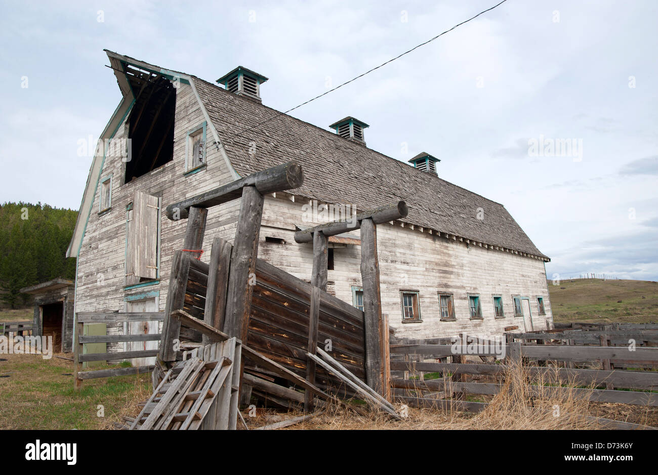Old barn of the former St.Joseph's mission and residential school east of Williams Lake Cariboo British Columbia - Stock Image