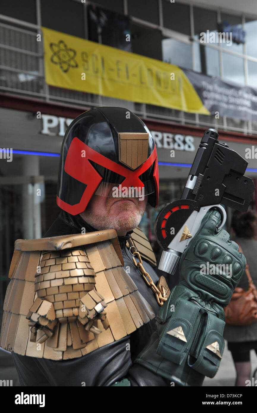 Cosplay cosplayers dressing up Stratford, London, UK. 28th April 2013. Judge Dredd outside the Stratford Picture - Stock Image
