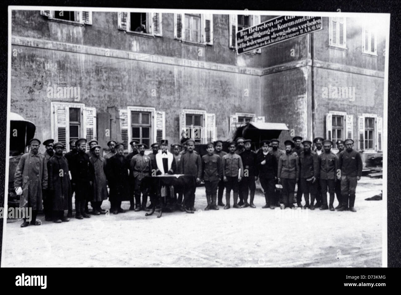 Jewish Chaplain of the Austro-Hungarian Army Conducts Services for Jewish Russian Prisoners - Stock Image