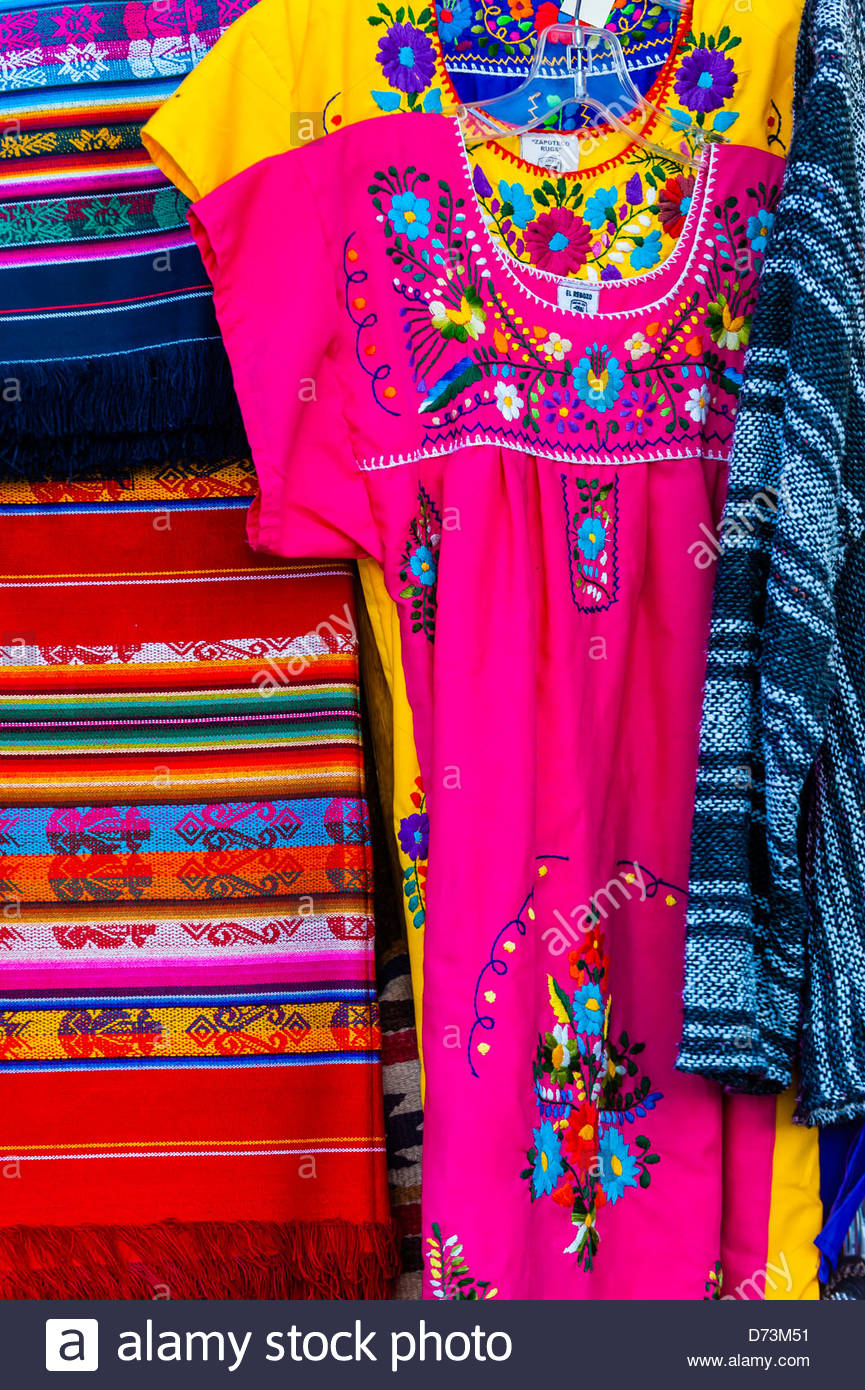 Mexican Peasant Blouses Hanging Outside A Shop Along Old Town Plaza
