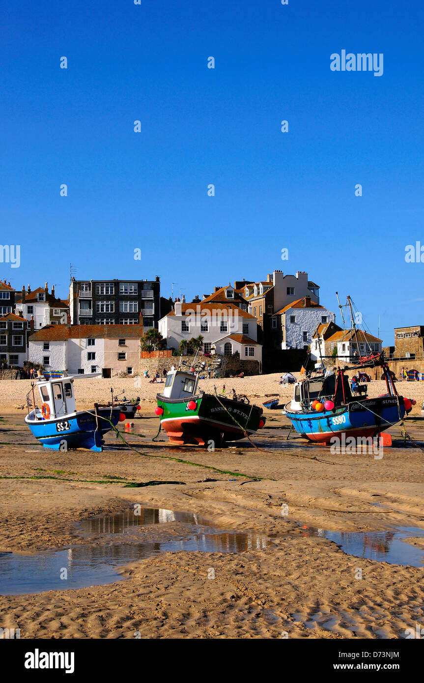 A view of St.Ives Cornwall with the tide out - Stock Image