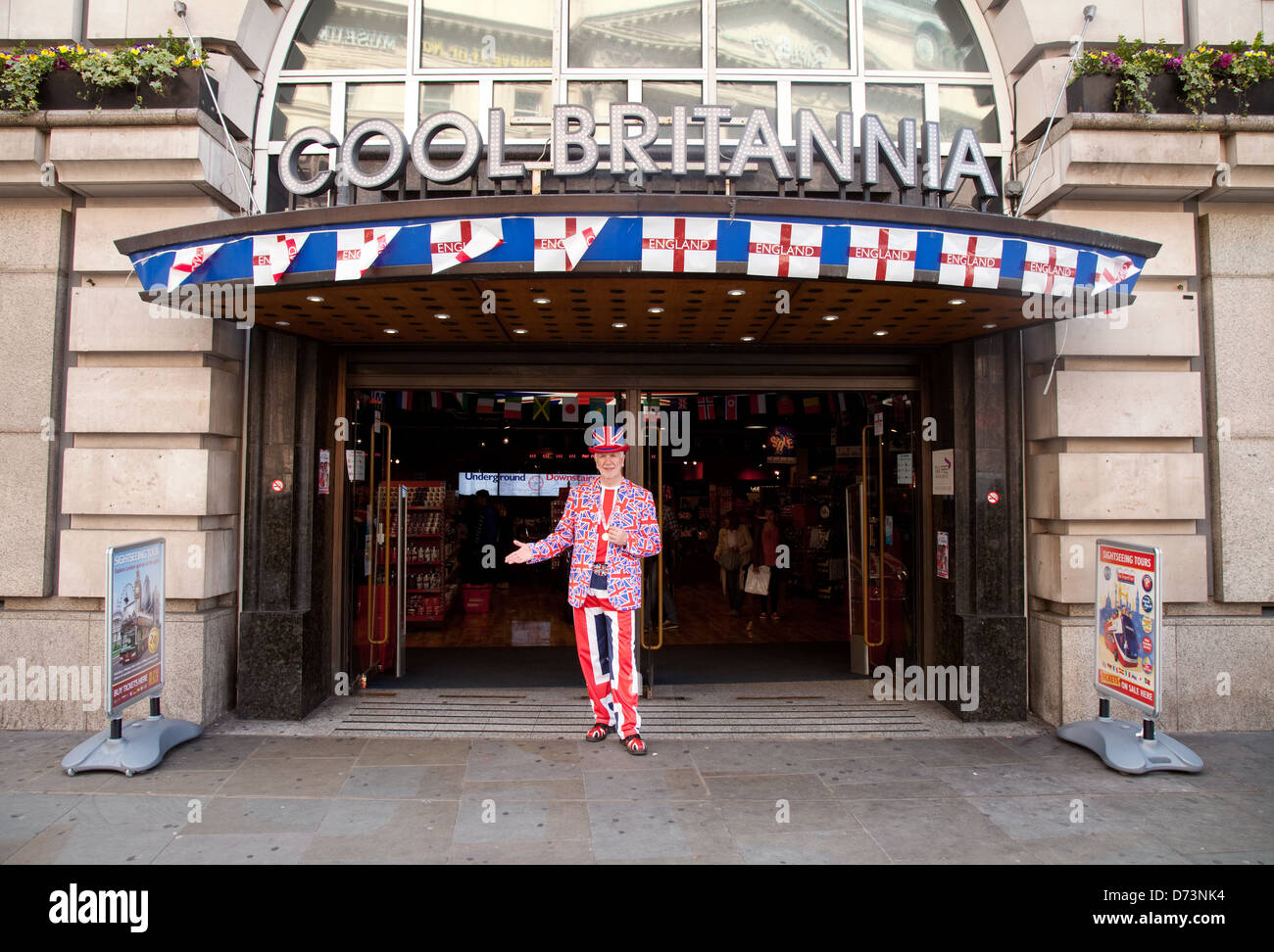 Cool Britannia store, Piccadilly Circus, london W1, for british souvenirs and gifts; UK - Stock Image