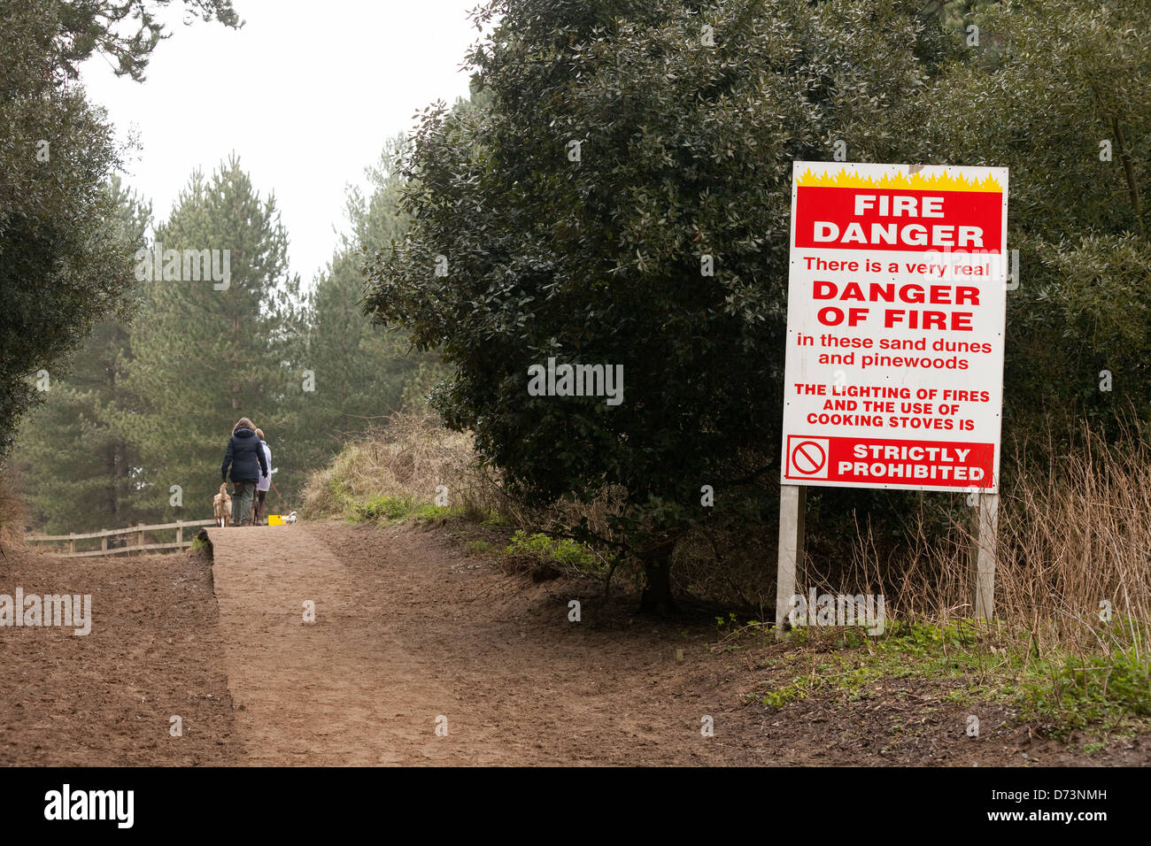 Sign about the Danger of Fire and starting fires in the countryside, Norfolk, East Anglia England UK - Stock Image