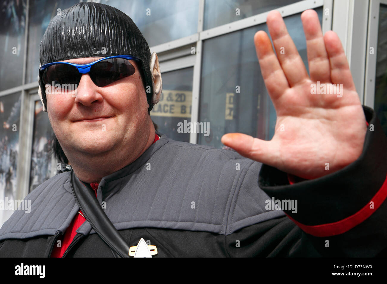 Man dressed as  Mr Spock, Star Trek character participates in 12th Sci-Fi-London costume parade, Stratford, London, - Stock Image