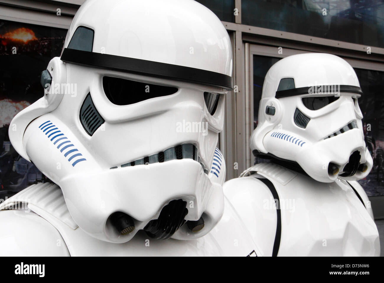 Two Imperial Stormtrooper characters take part in Sci-Fi-London costume parade, Stratford, London, UK - Stock Image