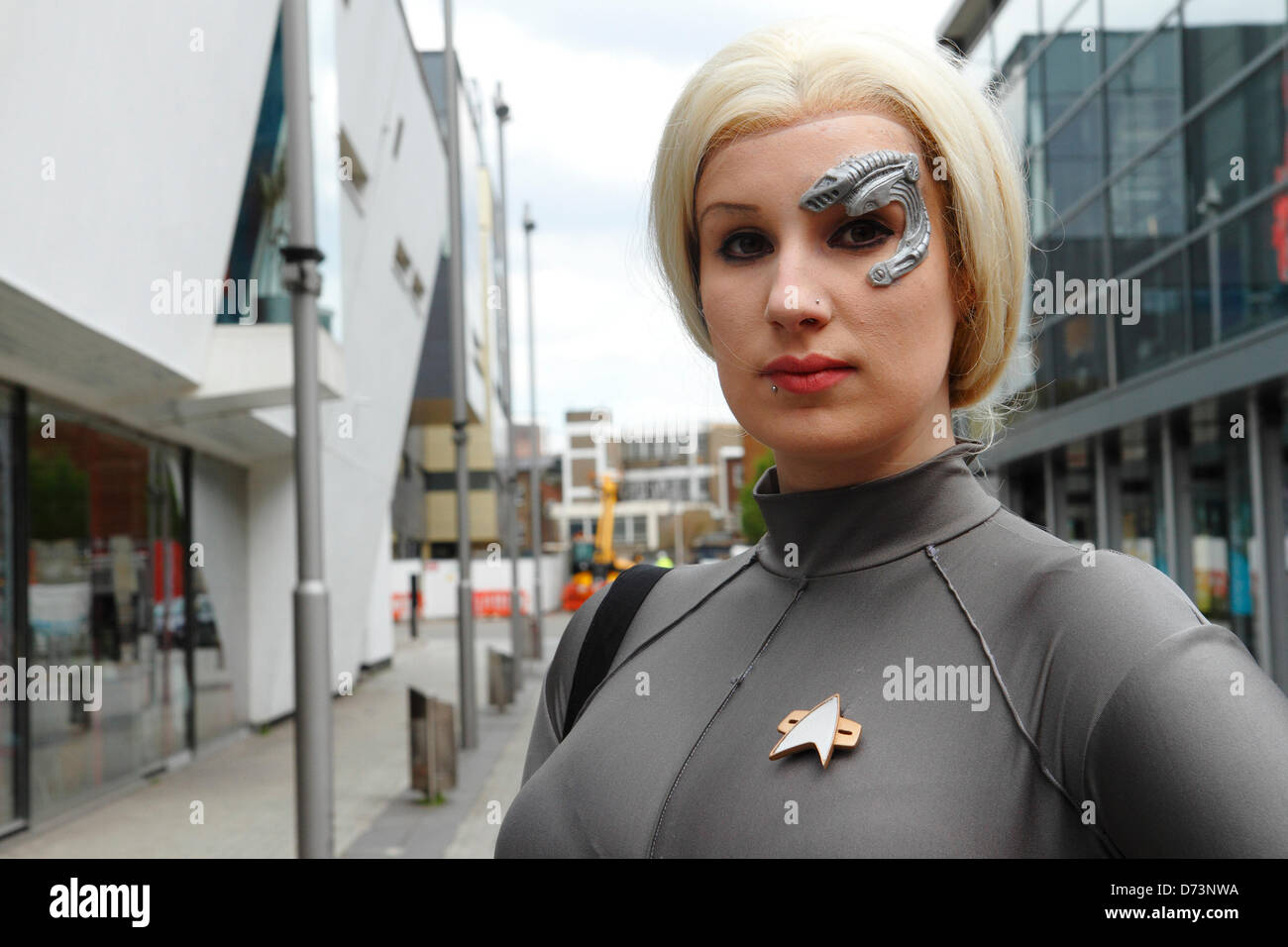Woman dressed as  Star Trek Voyage character participates in 12th Sci-Fi-London costume parade, Stratford, London, - Stock Image