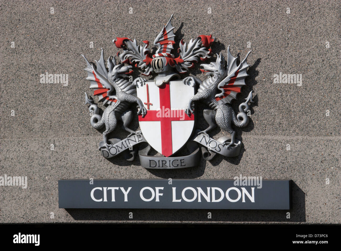 domine nos dirige city of london dragon crest - Stock Image