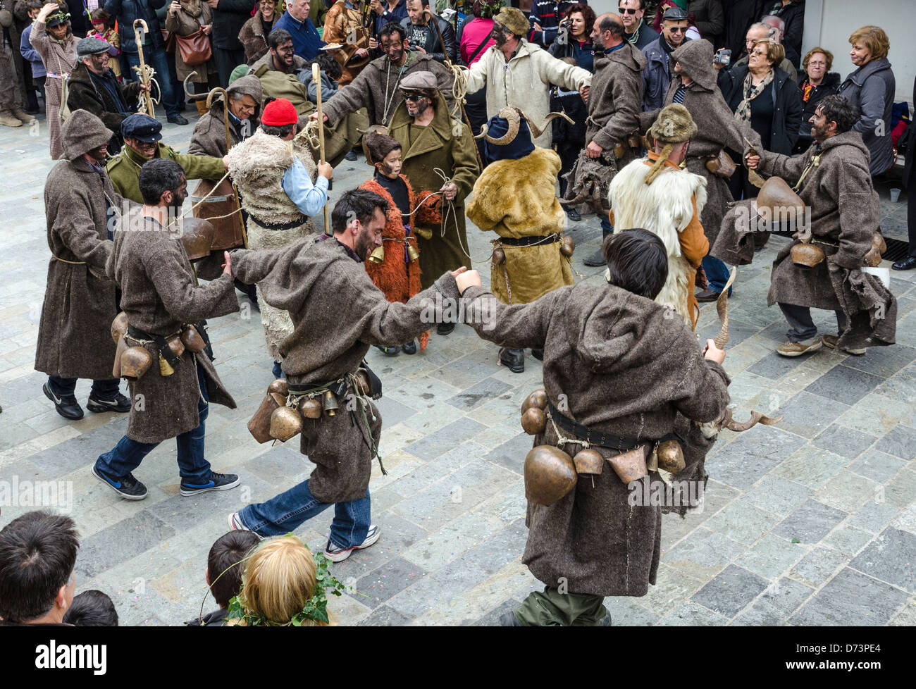 Pagan, rights of spring, festival held in the village of Nedousa, in the Taygetos mountains, Messinia, Peloponnese, - Stock Image