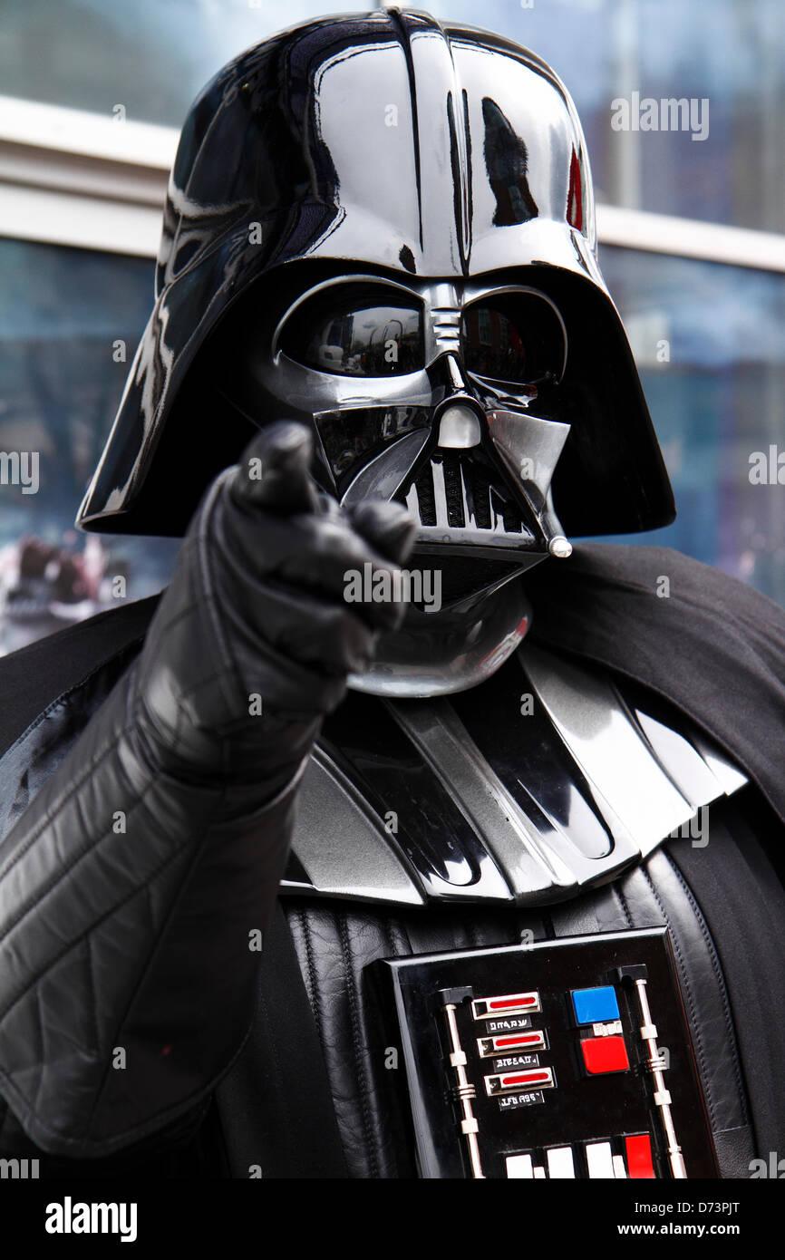 Darth Vader character at 12th Sci-Fi-London costume parade, Stratford, London, UK - Stock Image