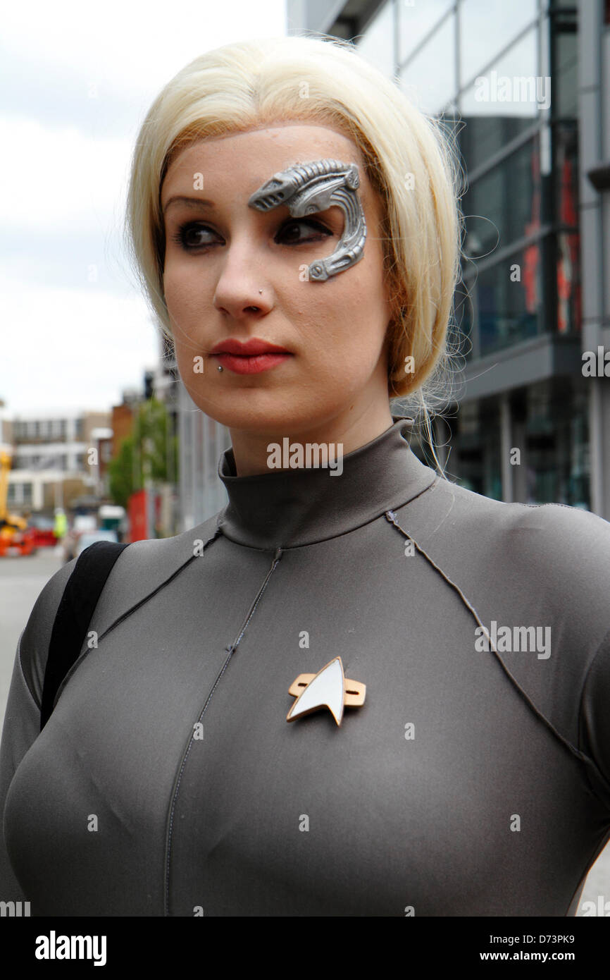 Woman dressed as  Star Trek Voyager character participates in 12th Sci-Fi-London costume parade, Stratford, London, - Stock Image