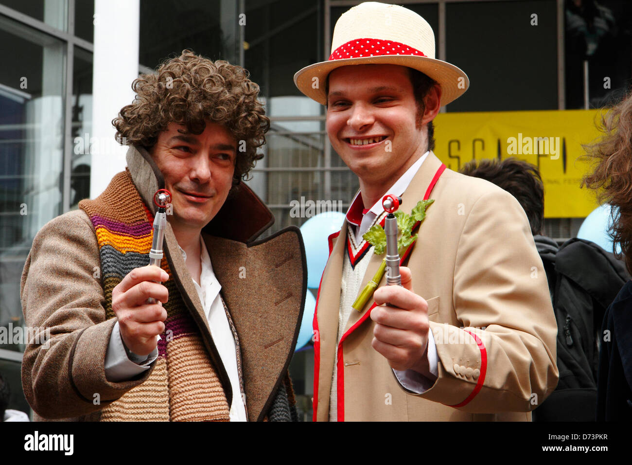 Two men dressed as Dr Who characters take part in the 12th Sci-Fi-London costume parade, Stratford, London, UK. - Stock Image