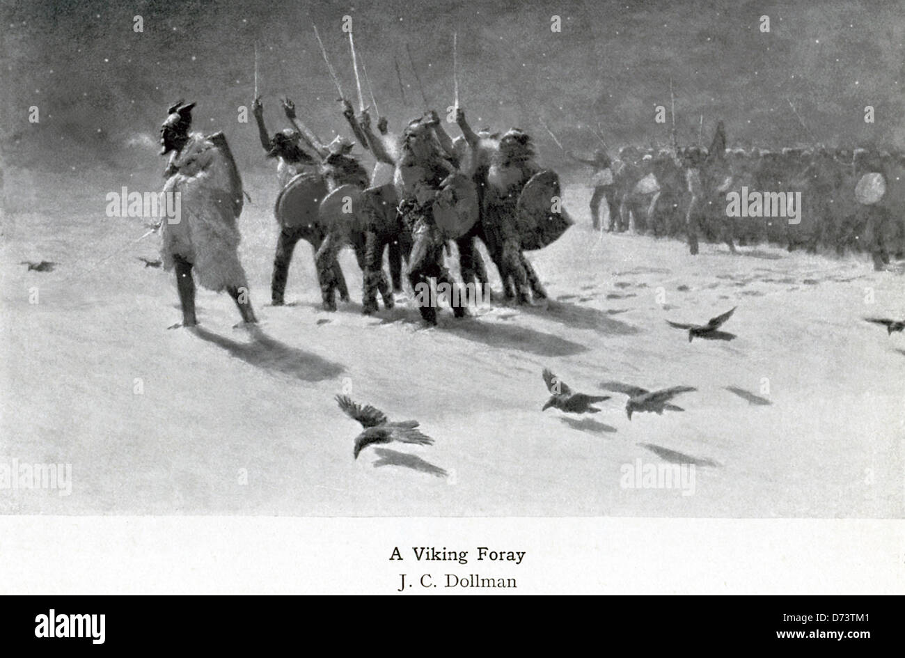 This painting by English painter J.C. Dollman (1851-1934) is titled A Viking Foray. - Stock Image