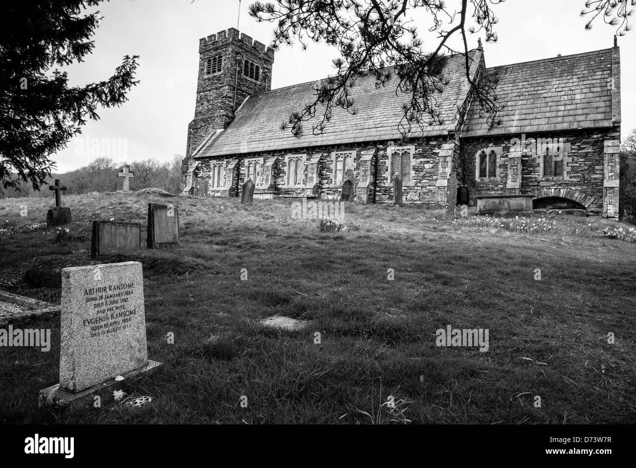 Arthur Ransome's grave at St Paul's Church, Rusland, near Hawkshead, Lake District, Cumbria Stock Photo
