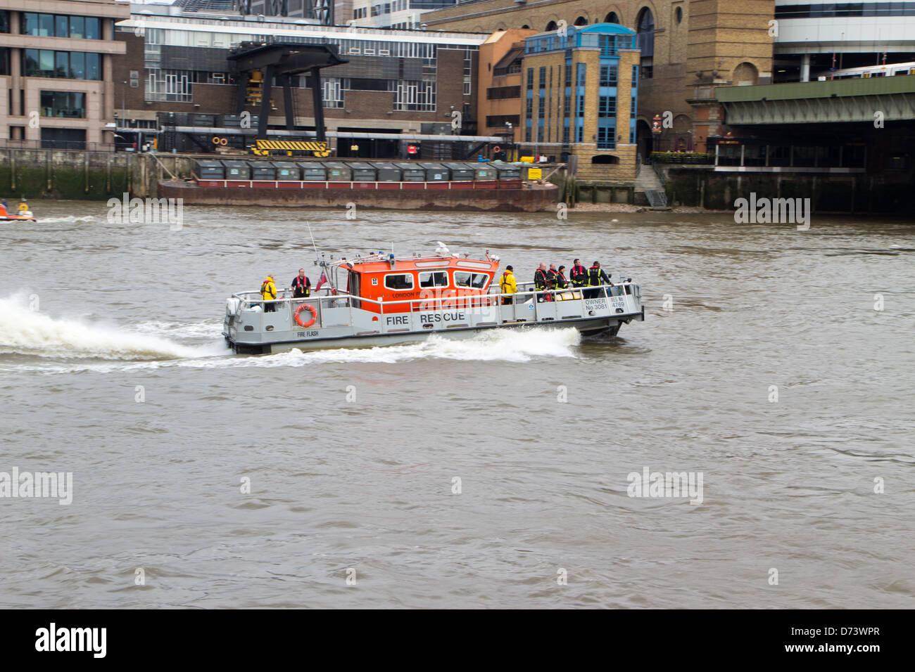 London fire brigade boat - Stock Image