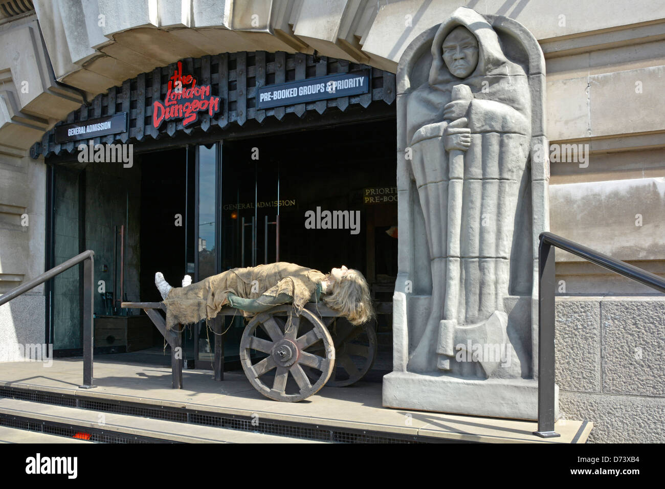 The New London Dungeon entrance on the South Bank run by Merlin Entertainments attractions - Stock Image