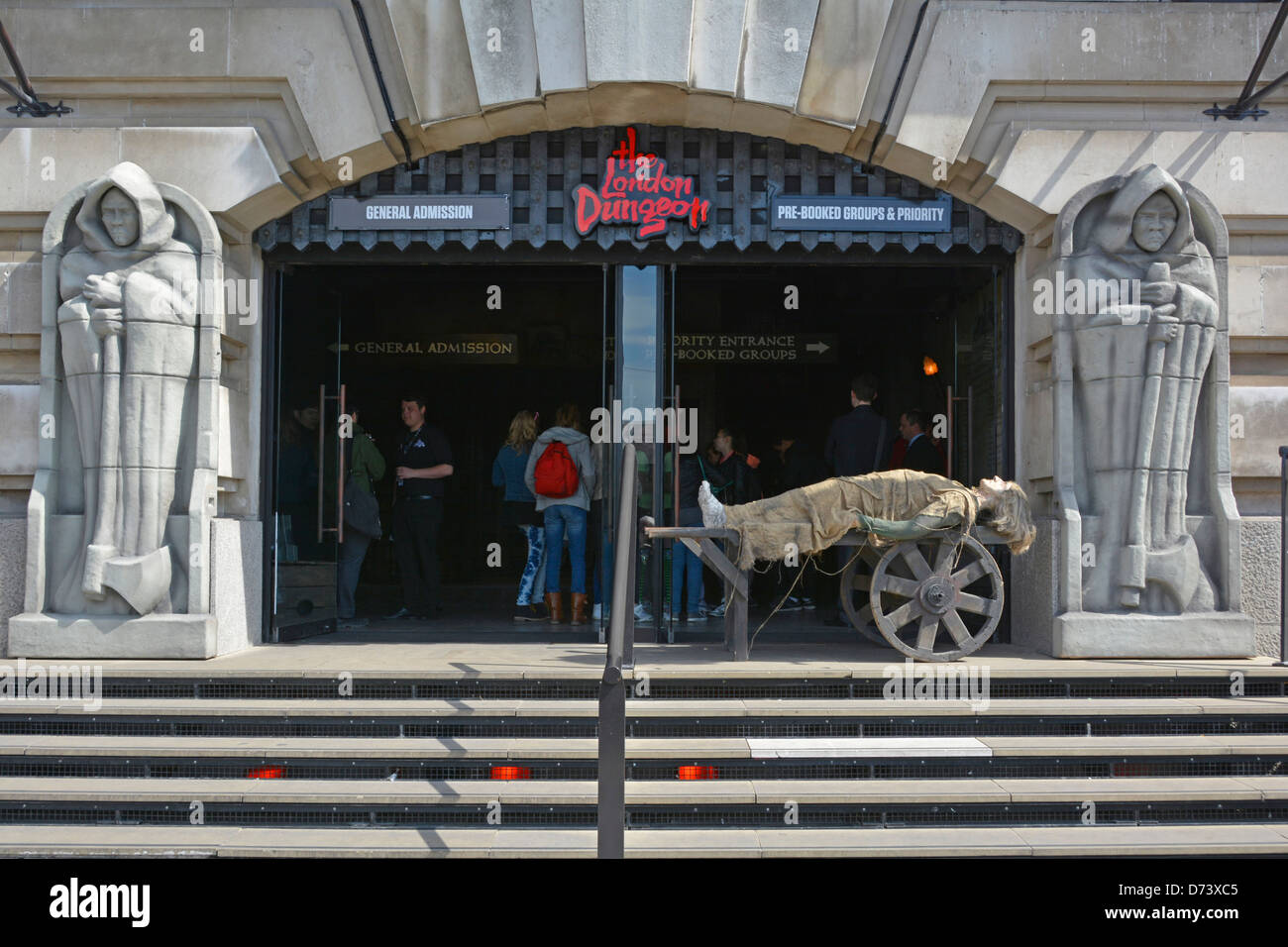 South Bank County Hall entrance to the New London Dungeon on the South Bank run by Merlin Entertainments attractions - Stock Image