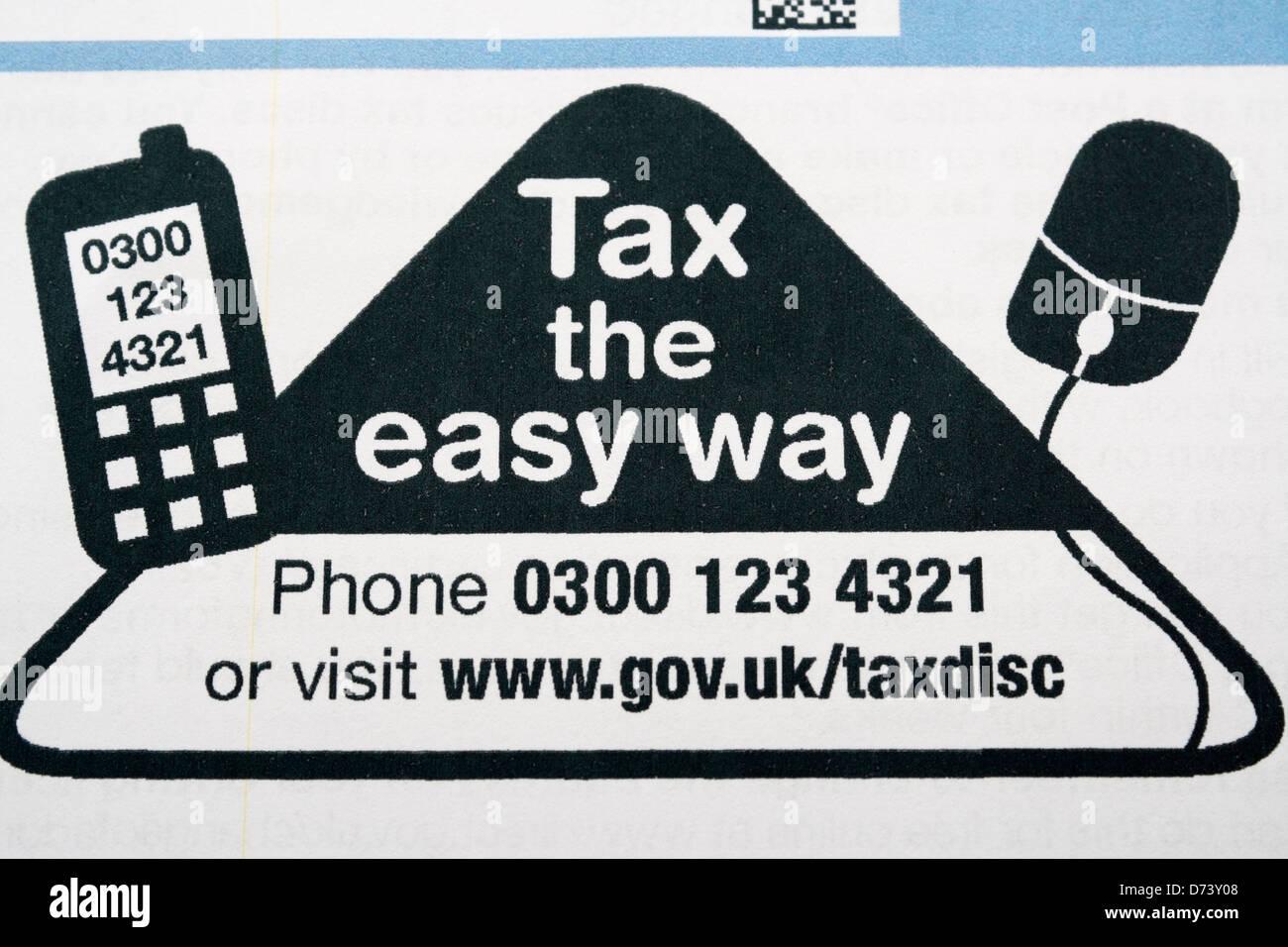 UK car tax renewal form - Stock Image
