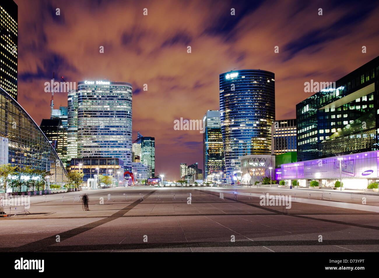 financial district La Défense in Paris at night - Stock Image