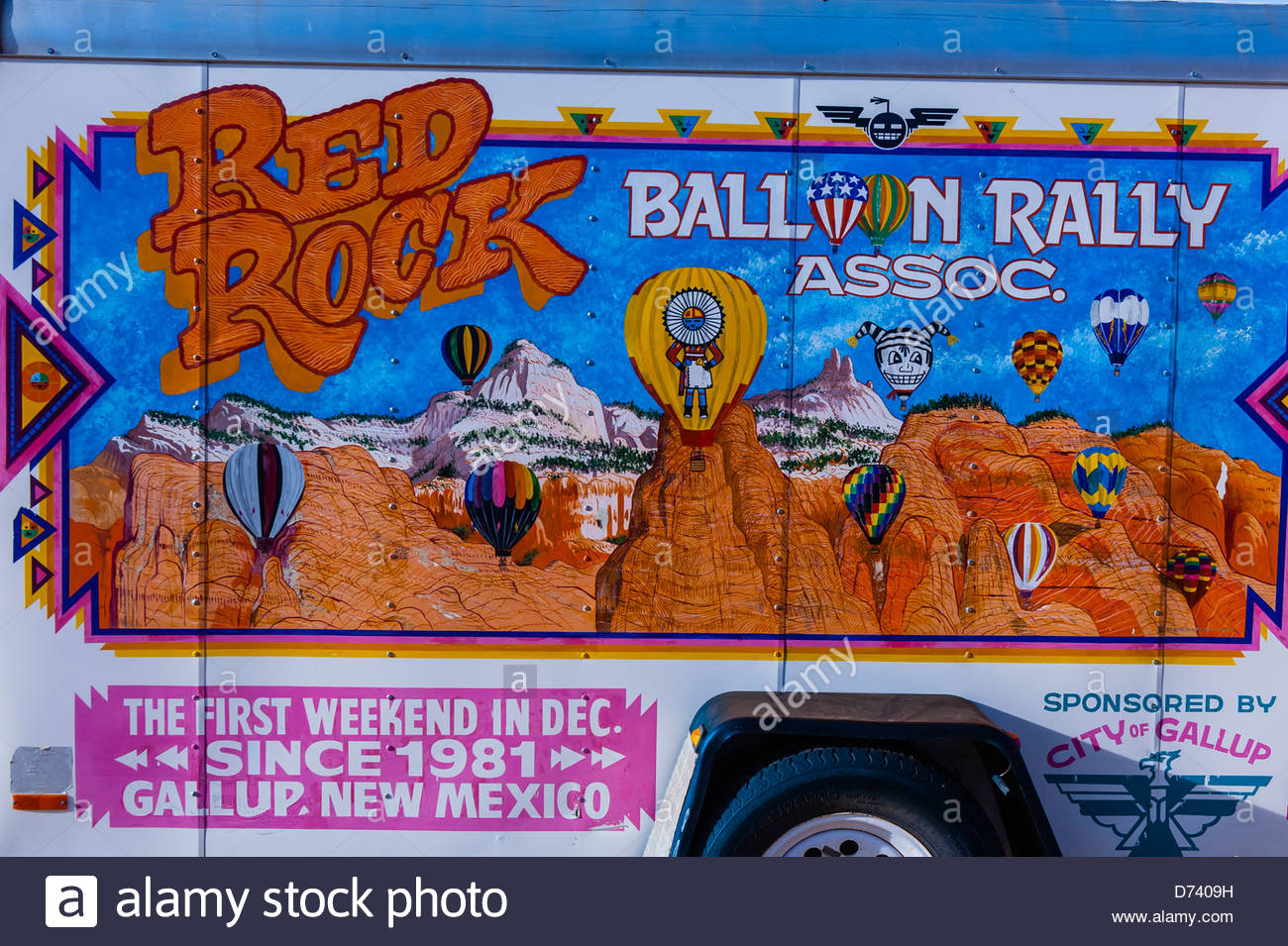 A hot air balloon trailer at the Red Rock Balloon Rally, Rock State Park, Gallup, New Mexico USA. Stock Photo