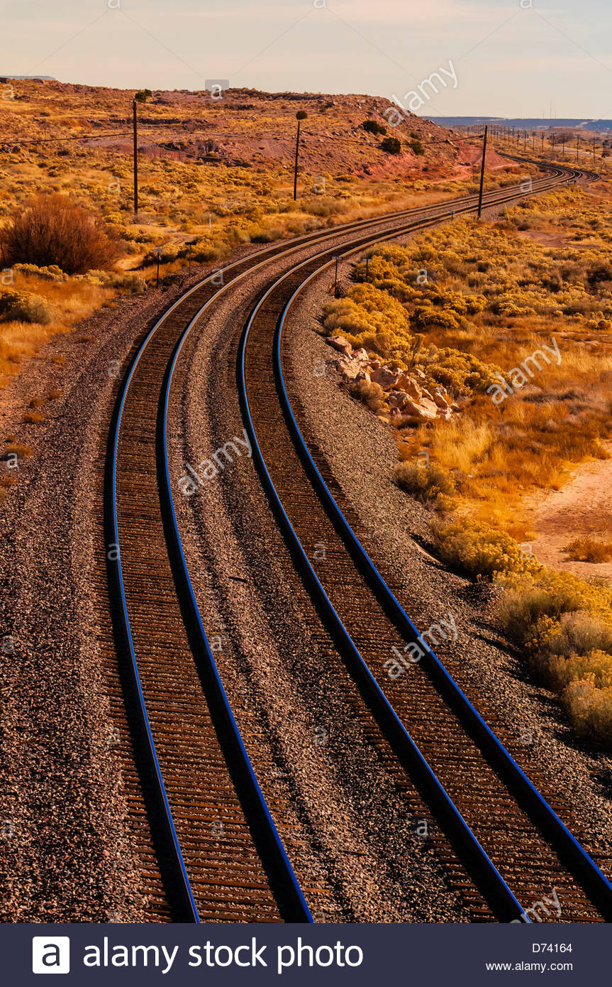 Overview of train tracks near Gallup, New Mexico USA. - Stock Image