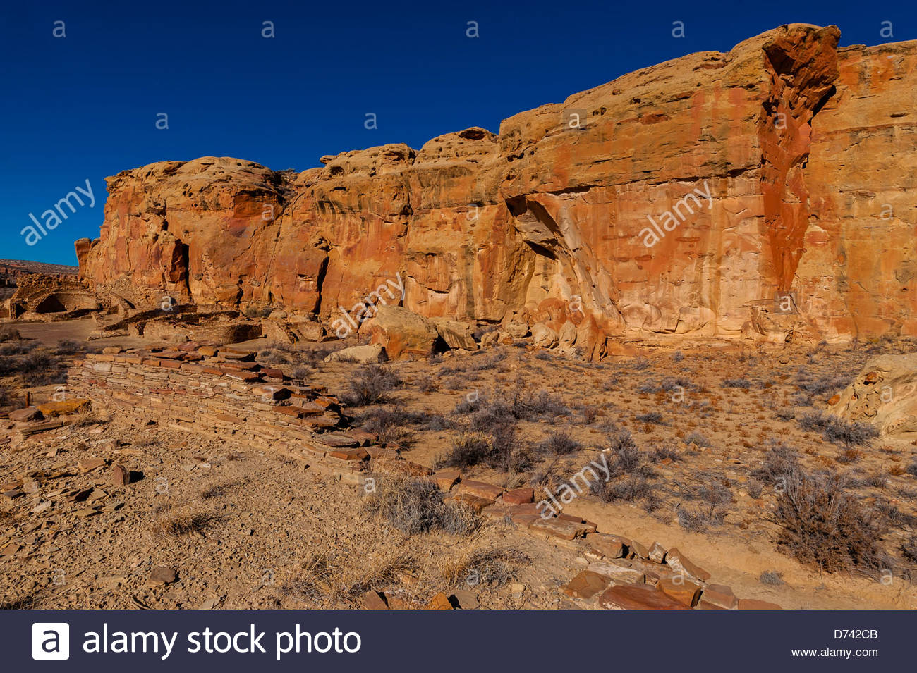 Chetro Ketl (begun around 1020 and had an estimated 500 rooms and 16 kivas), Chaco Culture National Historical Park - Stock Image