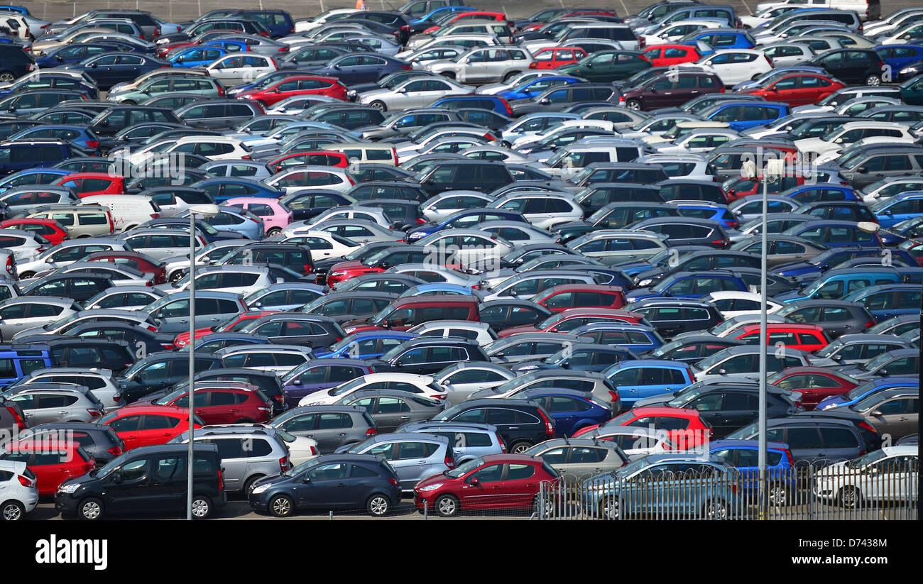Newly imported cars parked at Port of Southampton, Southampton, Hampshire, England, United Kingdom - Stock Image