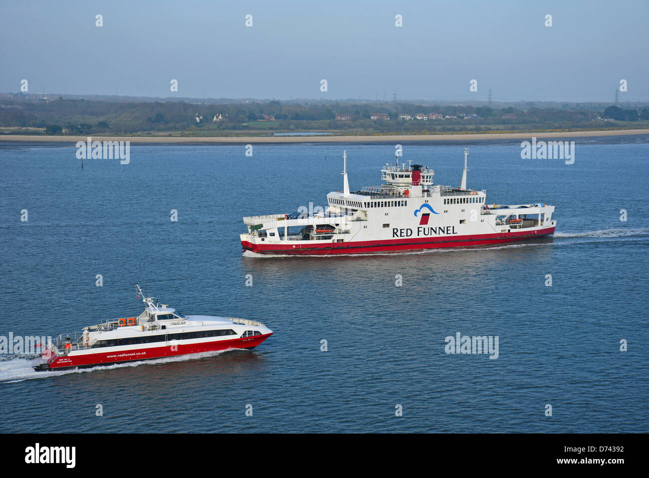 Red Funnel Isle of Wight ferries, Port of Southampton, Southampton, Hampshire, England, United Kingdom - Stock Image