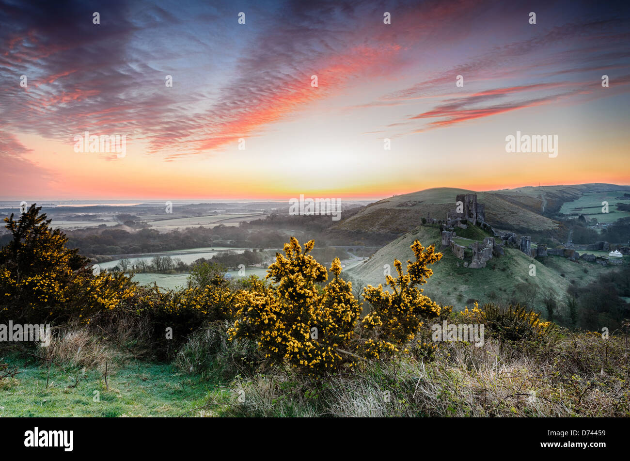 A frosty April sunrise overlooking the ruins of Corfe Castle on the Isle of Purpeck in Dorset - Stock Image