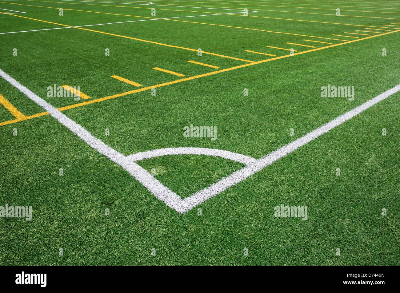 Artificial turf soccer field Fake Grass Lines On Football And Soccer Artificial Turf Field Lines On Football And Soccer Artificial Turf Field Stock Photo