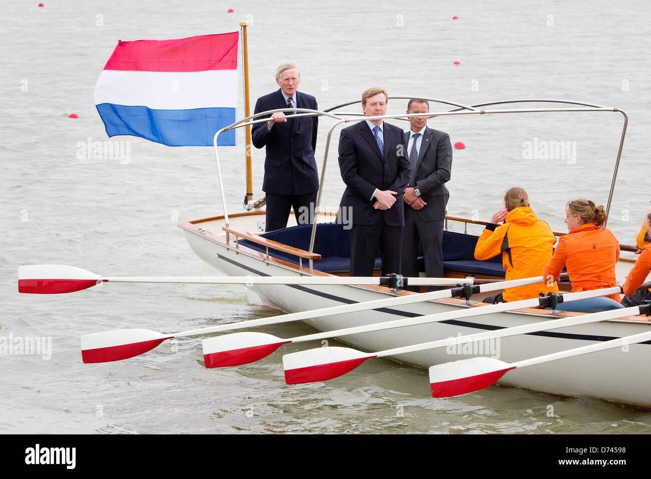 Crown Prince Willem-Alexander of The Netherlands opens the rowing course Willem-Alexander Course at the Eendragtspolder - Stock Image