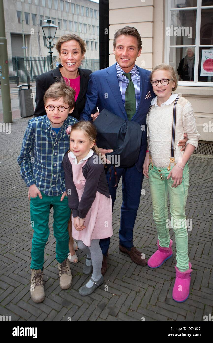 The Hague, The Netherlands. 28 April 2013.Prince Maurits, Princess Marilene, Anna, Lucas and Felicia of The Netherlands - Stock Image