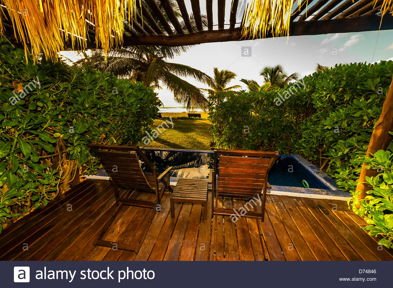 A guest room's porch and plunge pool, Le Reve Hotel, Riviera Maya, Quintana Roo, Mexico - Stock Image