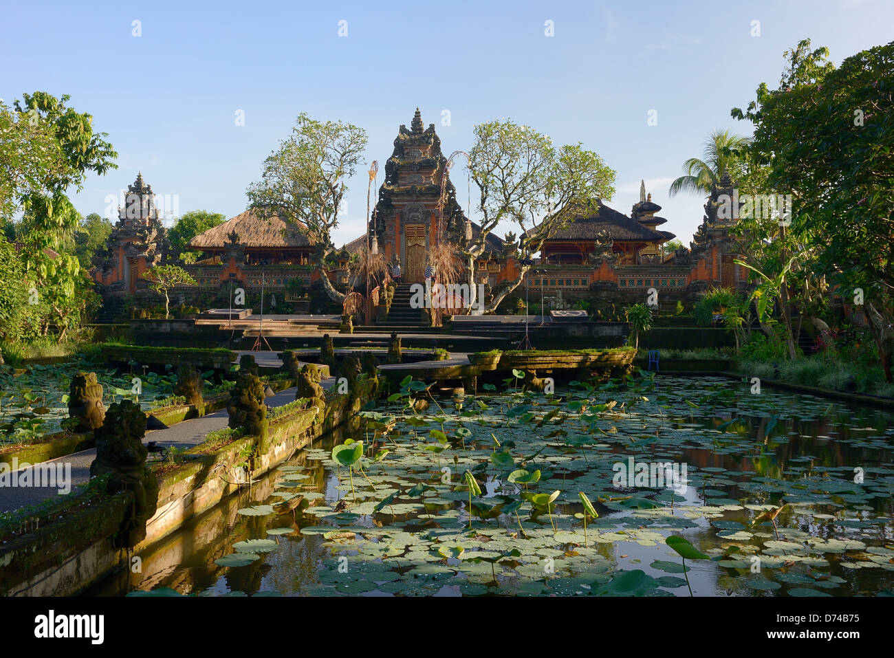 Indonesia, Bali, Ubud, Ornamental pond of the Pura Taman Saraswati temple - Stock Image