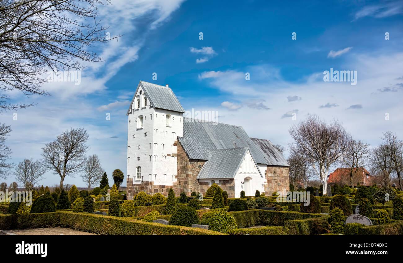 Medieval church in Vester Nebel, Esbjerg, western Jutland, Denmark - Stock Image