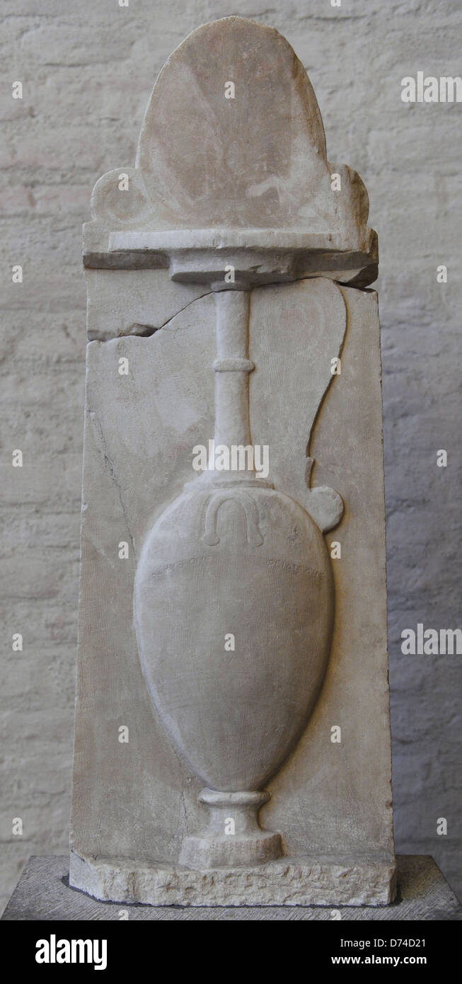 Greek art. Grave relief of Paramythion with a vase for wedding and burial. About 370 BC. Late Classical. Glyptothek. - Stock Image