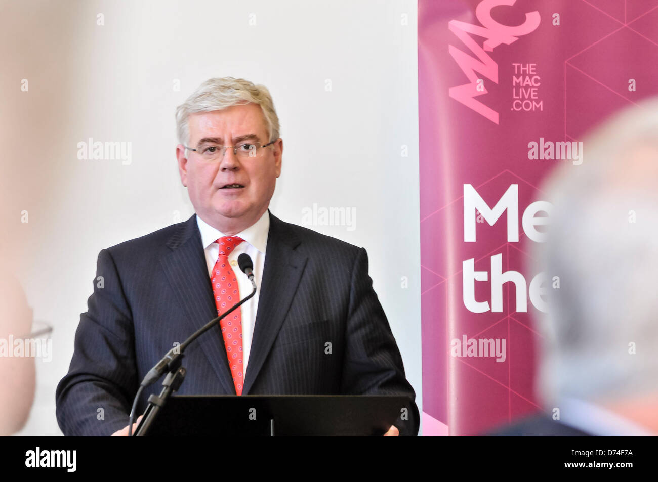 Belfast, Northern Ireland. 29th April 2013. Irish Tánaiste Eamon Gilmore addresses a number of 15 year old - Stock Image