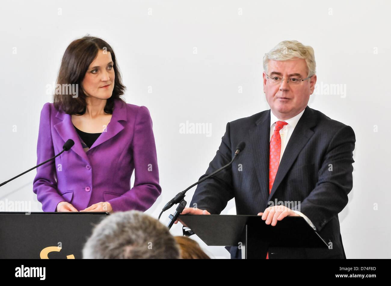 Belfast, Northern Ireland. 29th April 2013. Secretary of State Theresa Villiers and Irish Tánaiste Eamon Gilmore - Stock Image