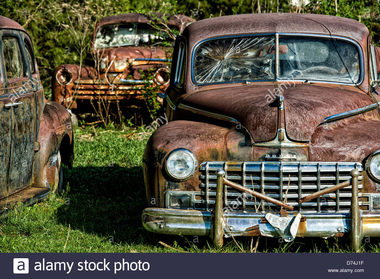 Abandoned rusty cars in a field, Sevierville, Tennessee, USA Stock ...