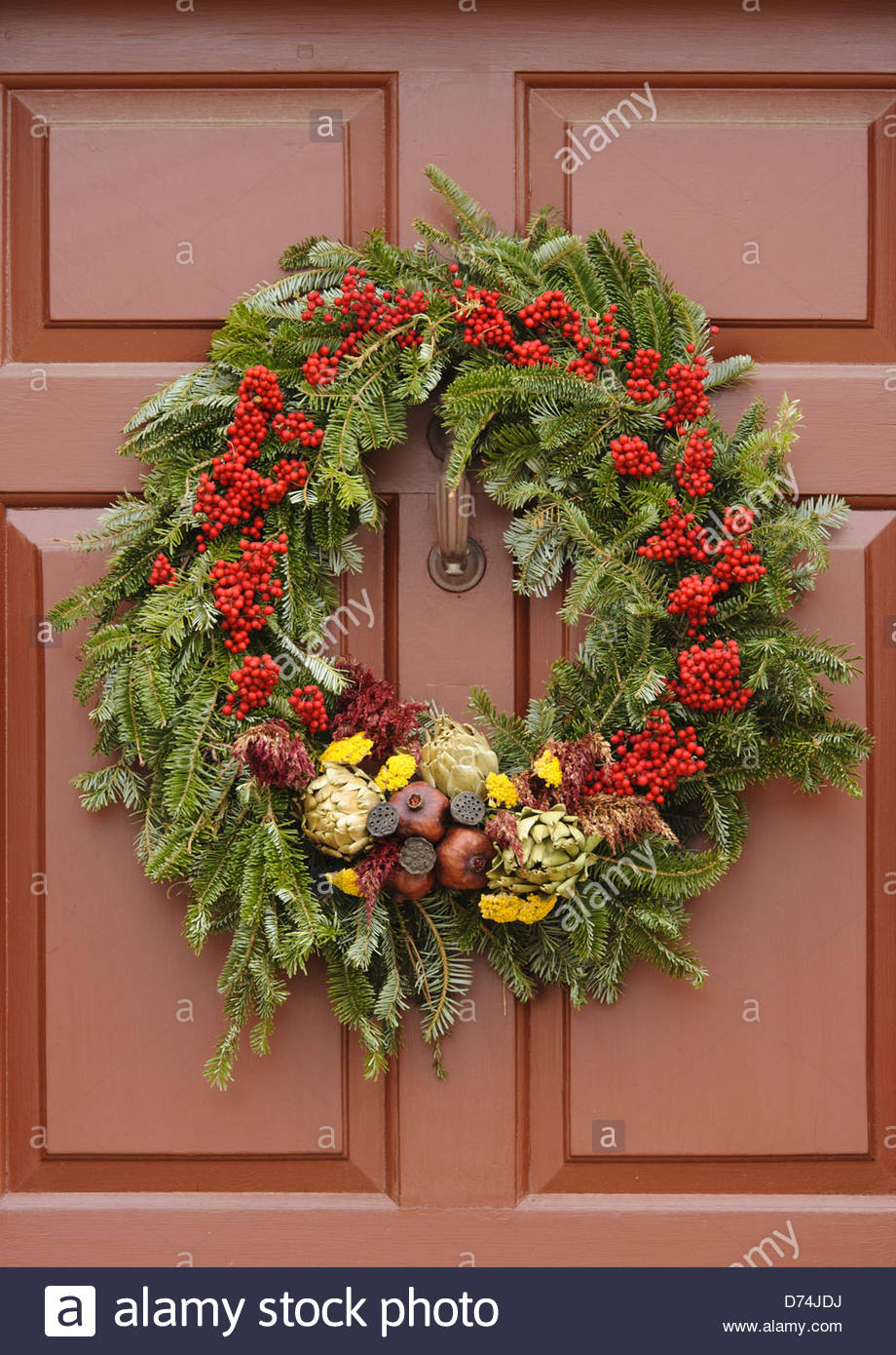 handmade christmas decorated wreaths hanging from a door williamsburg virginia usa - Williamsburg Decorated For Christmas