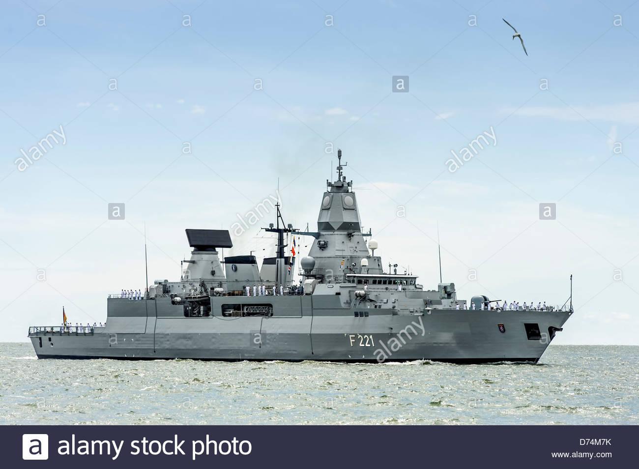 469 ft, German Frigate FGS Hessen arriving in Hampton Roads Harbor for OpSail 2012 on June 6, 2012 - Stock Image