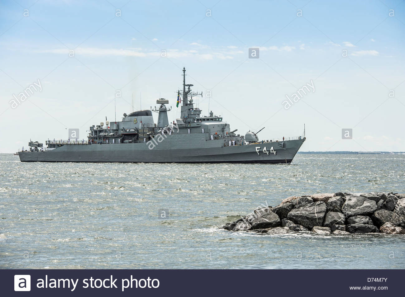 Brazilian Naval Frigate Independencia F44 entering Hampton Roads Harbor for OpSail 2012 on June 6, 2012 - Stock Image