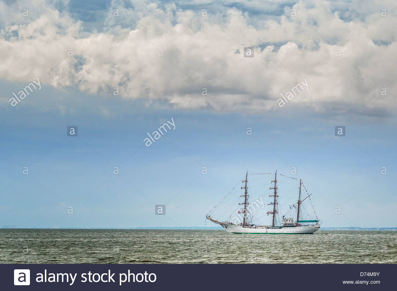 249 ft, Columbian tall ship, Gloria, leaving Hampton Roads Harbor at conclusion to OpSail 2012 on June 12, 2012 - Stock Image